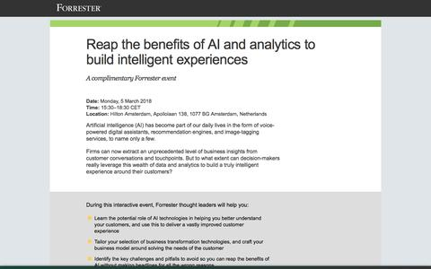 Screenshot of Landing Page forrester.com - Artificial intelligence will revolutionize your digital experiences - captured Sept. 19, 2018