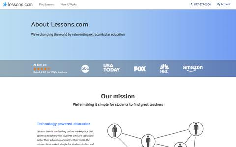 Screenshot of About Page lessons.com captured Jan. 28, 2016