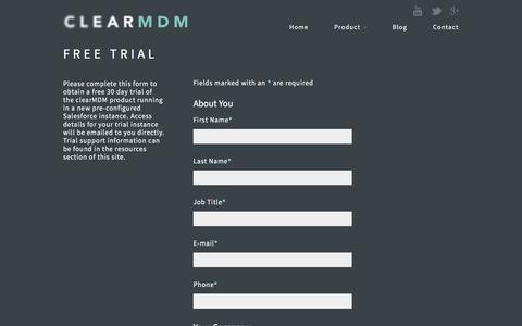 Screenshot of Trial Page clearmdm.com - Free Trial | clearMDM - captured Jan. 1, 2017