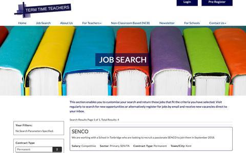 Screenshot of Jobs Page termtimeteachers.co.uk - Job Search, Term Time Teachers Redefining Educational Standards - captured Nov. 19, 2018