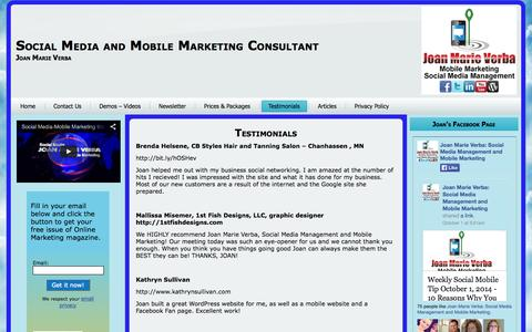 Screenshot of Testimonials Page jmvconsulting.com - Testimonials | Social Media and Mobile Marketing Consultant - captured Oct. 6, 2014