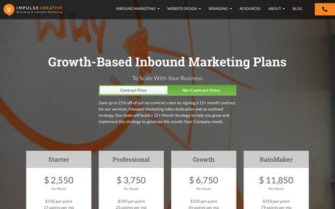 Screenshot of Pricing Page chooseimpulse.com - Inbound Marketing Pricing Examples - captured Nov. 14, 2015