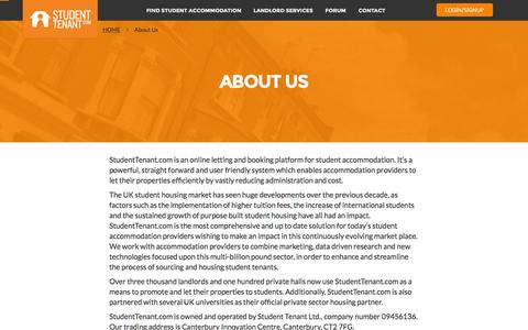 Screenshot of About Page studenttenant.com - About us | Student Tenant - captured Dec. 1, 2015