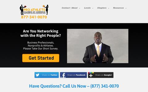 Screenshot of Signup Page paccchamber.com - The Pro Athlete Chamber of Commerce (PACC) - captured Oct. 8, 2014