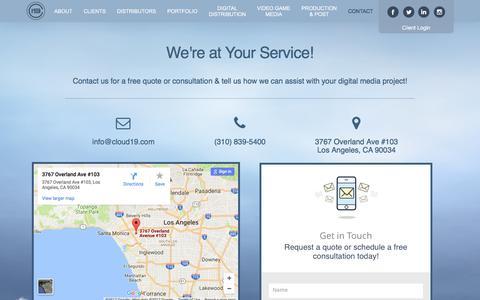 Screenshot of Contact Page cloud19.com - Contact | Cloud 19 Media - captured Aug. 6, 2017