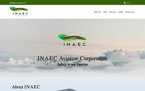 Screenshot of Home Page inaec.com.ph - Home - captured Feb. 10, 2016