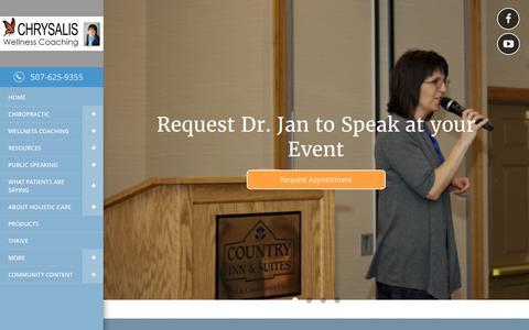 Screenshot of Home Page gentlebackcare.com - Chrysalis Chiropractic & Wellness Coaching - Chiropractor In Mankato, MN USA :: Home - captured Jan. 28, 2016