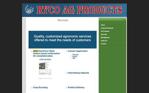 Screenshot of Services Page rycoag.com - Services - captured Oct. 19, 2018