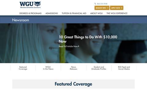 Screenshot of Press Page wgu.edu - WGU Newsroom - captured Aug. 21, 2016