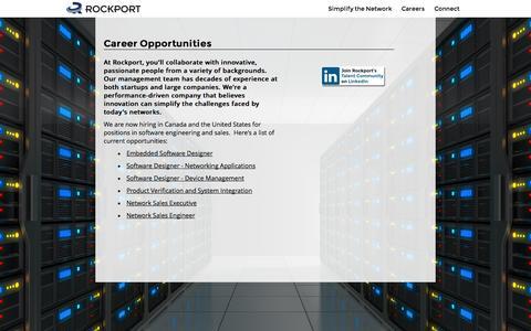 Screenshot of Jobs Page rockportnetworks.com - Rockport Networks: Careers - captured Oct. 6, 2014