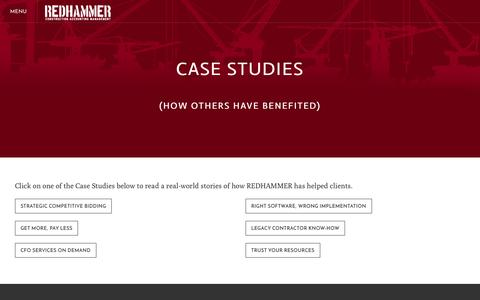 Screenshot of Case Studies Page redhammer.it - Case Studies - REDHAMMER LLC - captured Feb. 14, 2016