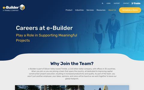 Screenshot of Jobs Page e-builder.net - Careers - e-Builder - captured June 15, 2019