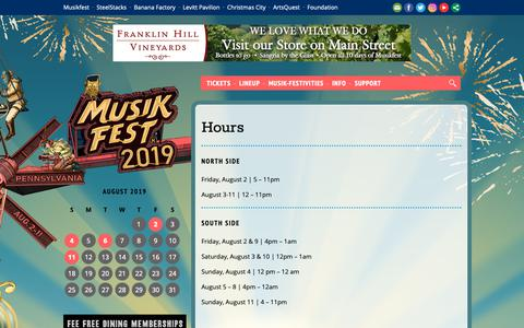 Screenshot of Hours Page musikfest.org - Hours  —  Musikfest - captured Dec. 13, 2018