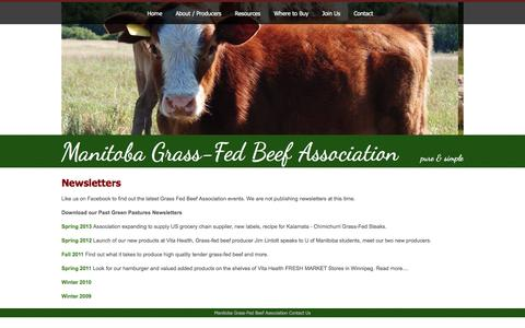 Screenshot of Press Page manitobagrassfedbeef.ca - Newsletters - captured Nov. 19, 2016