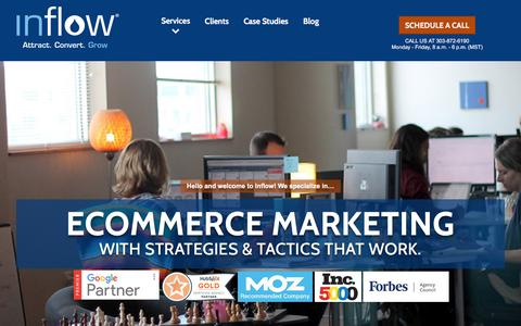 Screenshot of Home Page goinflow.com - Award-Winning eCommerce Marketing Agency | Inflow - captured June 18, 2017