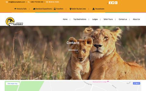 Screenshot of Contact Page falconsafaris.com - Contacts - Falcon Safaris - captured Sept. 22, 2018