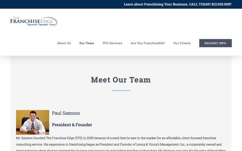 Screenshot of Team Page thefranchiseedge.com - Our Team - The Franchise Edge - captured Sept. 21, 2018