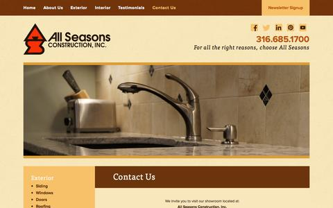Screenshot of Contact Page allseasonsconstruction.com - Contact Us | All Seasons Construction - captured Oct. 4, 2014