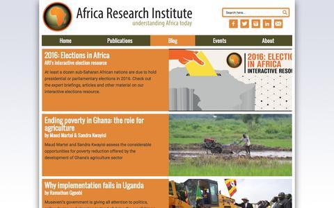 Screenshot of Blog africaresearchinstitute.org - ARI Blog - Africa Research Institute - captured July 24, 2016