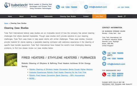 Screenshot of Case Studies Page tubetech.com - Case Studies - Heat Exchanger Cleaning Specialists - captured Dec. 1, 2016