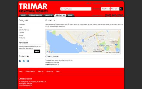 Screenshot of Contact Page trimar.ca - Contact Us - Trimar Promotional Products - captured Dec. 20, 2016