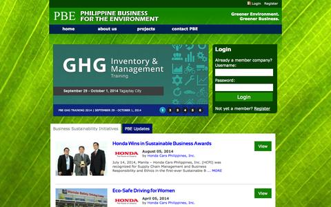 Screenshot of Home Page thepbe.org - PBE : Philippine Business for the Environment - captured Oct. 2, 2014