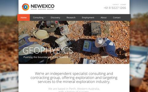 Screenshot of Home Page newexco.com - Newexco - Geology, Geophysics & Discovery - captured Feb. 24, 2016