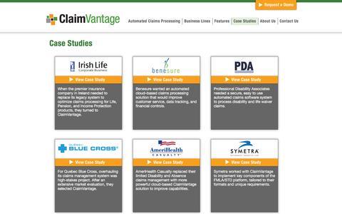Screenshot of Case Studies Page claimvantage.com - Case studies - ClaimVantage | ClaimVantage - captured Dec. 9, 2015