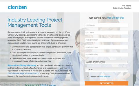 Screenshot of Landing Page clarizen.com - Project Management Tools l Clarizen - captured July 27, 2017