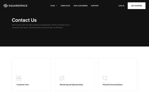 Screenshot of Contact Page squarespace.com - Contact Us – Squarespace - captured Jan. 16, 2019
