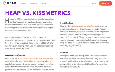 Screenshot of heapanalytics.com - Heap vs KISSmetrics -        Heap | Mobile and Web Analytics - captured Sept. 15, 2017