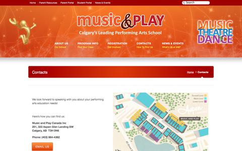 Screenshot of Contact Page musicandplay.ca captured Feb. 2, 2020