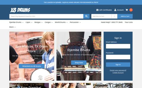 Screenshot of Home Page x8drums.com - Djembe African Drums, Bags, Stands & Hand Drums - X8 Drums - captured July 21, 2019