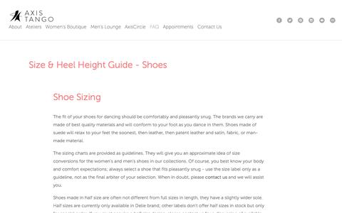 Screenshot of FAQ Page axistango.com - Size & Heel Height Guide - Shoes — AxisTango - Luxurious Dance Shoes and Apparel - captured Sept. 30, 2014