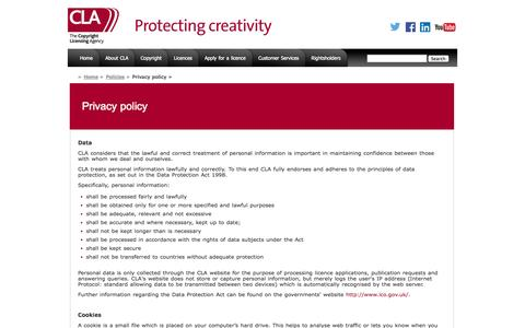 Screenshot of Privacy Page cla.co.uk - Copyright Licensing Agency (CLA) : Privacy policy - captured Oct. 3, 2014