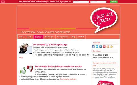 Screenshot of Services Page justaskjulia.co.uk - Services - Just Ask Julia - captured Sept. 30, 2014