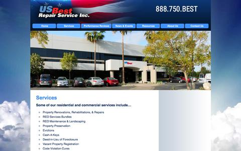 Screenshot of Services Page usbestrepairs.com - US Best Repair Service, Inc. | Services | Nationwide Property Preservation & Property Maintenance, REO - captured Feb. 2, 2016