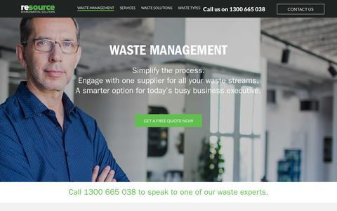 Screenshot of Home Page wastemanagement.com.au - Smarter Waste Management & Waste Brokerage Solutions. - captured Oct. 18, 2018