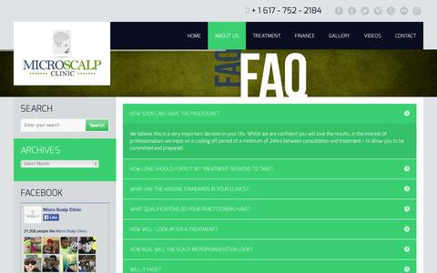 Screenshot of FAQ Page microscalpclinic.com - Micro Scalp Clinic - Frequent Asked Questions - captured Oct. 3, 2014
