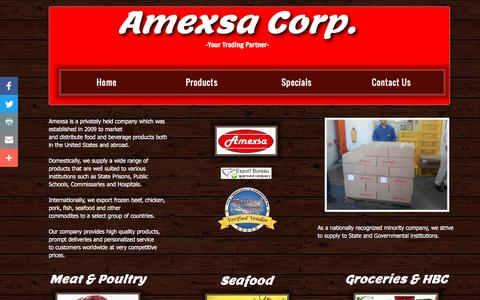 Screenshot of Products Page amexsacorp.com - Home - captured July 25, 2016