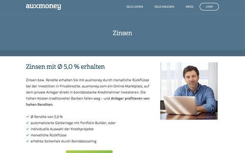Zinsen von Ø 5,0% | AUXMONEY