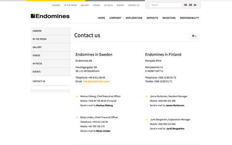 Screenshot of Contact Page endomines.com - Contact us - Endomines AB - captured Oct. 2, 2014