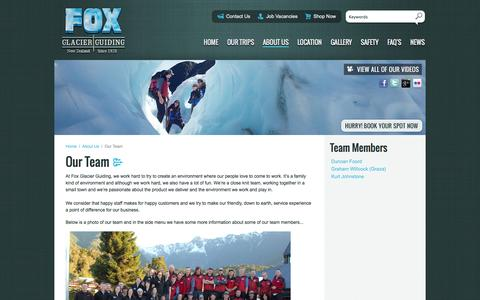 Screenshot of Team Page foxguides.co.nz - Fox Glacier Guiding New Zealand | Guided Glacier Trips Fox Glacier - captured Oct. 6, 2014
