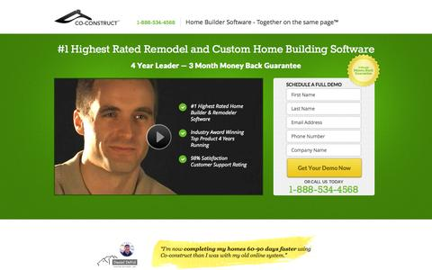 Screenshot of Landing Page co-construct.com - Remodel Software - captured Oct. 27, 2014
