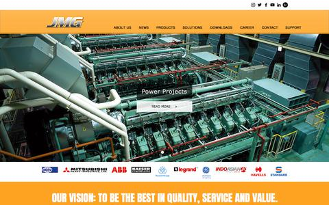 Screenshot of Home Page jmglimited.com - JMG | GENERATOR | ELECTRICAL | INDUSTRIAL PRODUCTS IN NIGERIA - captured July 26, 2018