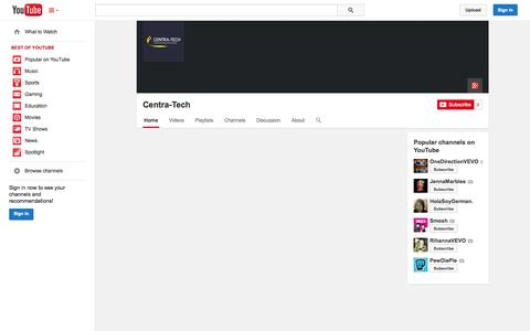 Screenshot of YouTube Page youtube.com - Centra-Tech  - YouTube - captured Oct. 26, 2014