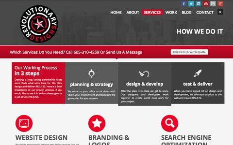 Screenshot of Services Page revolutionarydesigns.com - Web Design Services & Graphic Design Services - Revolutionary Designs - captured Oct. 26, 2014