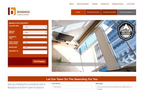 Screenshot of Home Page bangkokcondofinder.com - Huge Range Of Condos For Sale And Rent Throughout Bangkok | Click For More! - captured Oct. 1, 2015
