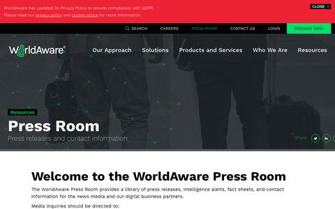 Screenshot of Press Page worldaware.com - Press Room | WorldAware - captured June 21, 2019