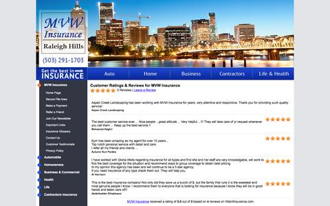 Screenshot of Testimonials Page mvwinsurance.com - Customer Testimonials & Reviews - MVW Insurance - captured Nov. 18, 2016